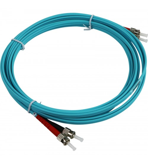 Enbeam OM3 Fibre Optic Patch Lead ST-ST Multimode 50/125 Duplex LS0H Aqua 1m