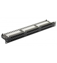 Excel Cat 6 Unscreened UTP Right Angle Patch Panel 48 Port 1U - Black