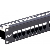 Excel Cat 5e Unscreened 19 inch Right Angle RJ45 Patch Panels 24 Ports