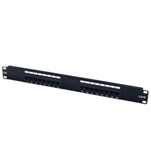 Excel Cat5e 1u 16 Port UTP Patch Panel Black