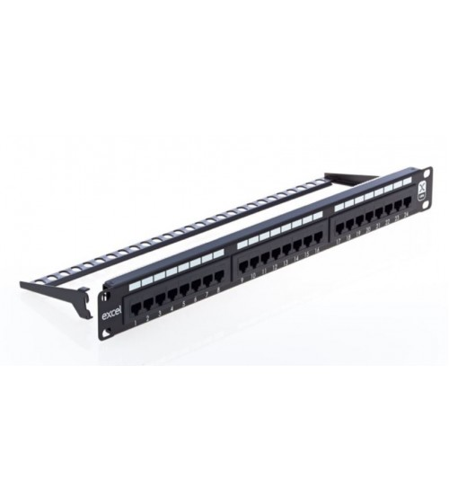 Excel Cat5e 1u 24 Port UTP Patch Panel Black