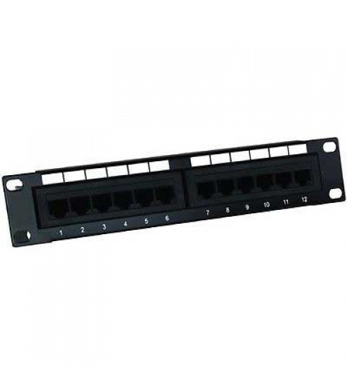 "Excel MicroLan CAT5e 10"" Patch Panel - 12 Port - 1u"