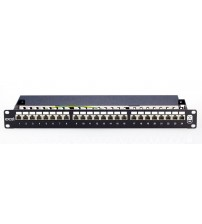 Excel Cat 6 Screened Right Angle Patch Panel, 24 port, 1U, Black