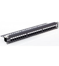 Excel Cat 6 UTP Right Angle Patch Panel - 24 Port - 1U - Black