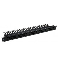 Excel 1U 3 Pair Voice RJ45 Patch Panel - 25 Port - Black