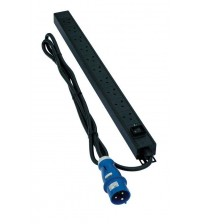 Excel Switched - 8 Way 45° Angle UK Socket PDU - Master Switch - 16A IEC 60309 Plug - Vertical