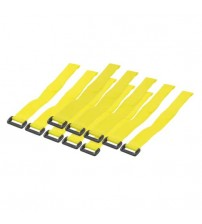 300mm Hook and Loop Cable Ties - Yellow